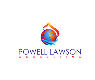 Powell Lawson Consulting logo. Fire and water wrap around the globe symbolizing PLC's work in natural hazards and environmental hazards