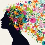 colorful ideas spring from a woman's head like flying birds