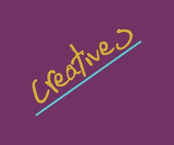 Powell Lawson Creatives logo; it features the word creatives in gold, underlined in blue on a vivid purple background